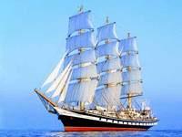 """Chegada do navio """"Pallada"""" à Ponta Delgada"""