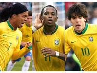 Ronaldinho Gaúcho, Kaká e Robinho ouro do Brasil nas eliminatórias da Copa da Mundo de 2010