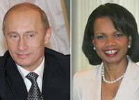 """Rice disse: """" Presidente Vladimir Putin crítica cada vez mais governo Bush"""""""
