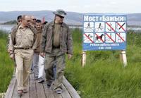 Putin com o príncipe de Mônaco viagem pelo rio Yenissey