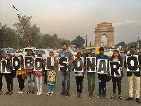 Agricultores da Índia protestam contra presença de Bolsonaro: