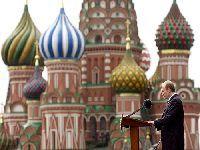 Presidente Vladimir Putin da Rússia Fala à reunião da