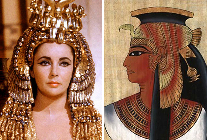 Figuras históricas retratadas em filmes Elizabeth Taylor como rainha egípcia Cleopatra. ©Fotodom.ru/Rex Features