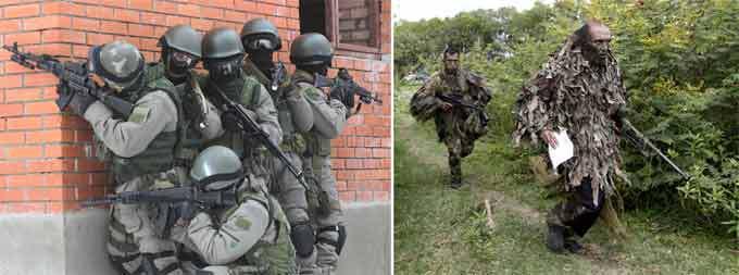 """Forças Especiais da Rússia e dos Estados Unidos As Forças especiais da Rússia e dos Estados Unodos ficam entre os melhores do mundo.  Força Delta é o nome popular dado à unidade reconhecida como 1st Special Forces Operational Detachment – Delta(1st SFOD-D), a principal força contra-terrorismo e de operações especiais do Exército do Estados Unidos. Oficialmente ela é chamada no Pentágono de """"Grupo de Aplicações de Combate"""" (Combat Applications Group)- vejam à direita.   Spetsnaz ( literalmente """"unidades para fins especiais"""") é um termo russo que designa asforças especiais da Federação Russa.Spetsnaz pode significar as tropas de elite controladas pelo Serviço de Segurança Nacional (FSB) em missões de antiterrorismo e anti-sabotagem, pelo Ministério do Interior (e polícia) MVD, e forças especiais do exército controladas pelo serviço de inteligência militar GR- vejam à esquerda. Fotos Pravda.Ru."""