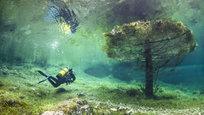 Situado entre as montanhas nevadas Karst, o Lago Verde em Tragoess, Áustria, normalmente tem apenas um metro de profundidade. A área inunda todos os anos, cobrindo um parque.erca de doze metros de água cobrem árvores, trilhas, bancos e pontes.  O mergulhador Marc Henauer, de Perly, Suíça, ouviu falar sobre o fenômeno natural e veio para explorar o lago por conta própria. Fotos Fotodom.ru/Rex Features